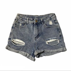 SHEIN Distressed Rolled Hem High Waisted Shorts S